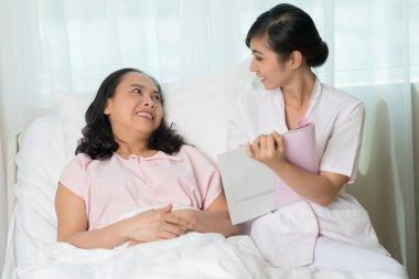 Nurse showing prescription