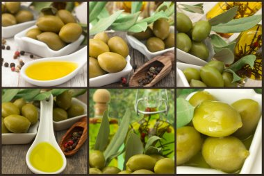 olives with olive oil, collage