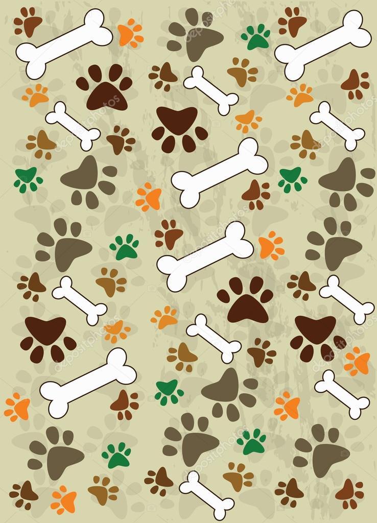 Vector: patitas de perro | Patas de perro y los huesos — Vector de ...