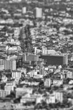 Buildings tilt-shift : black and white style