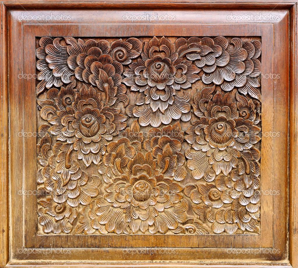 Wood thai pattern handmade wood carvings u stock photo room