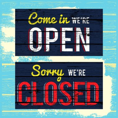 open and closed wood grunge texture sign front store