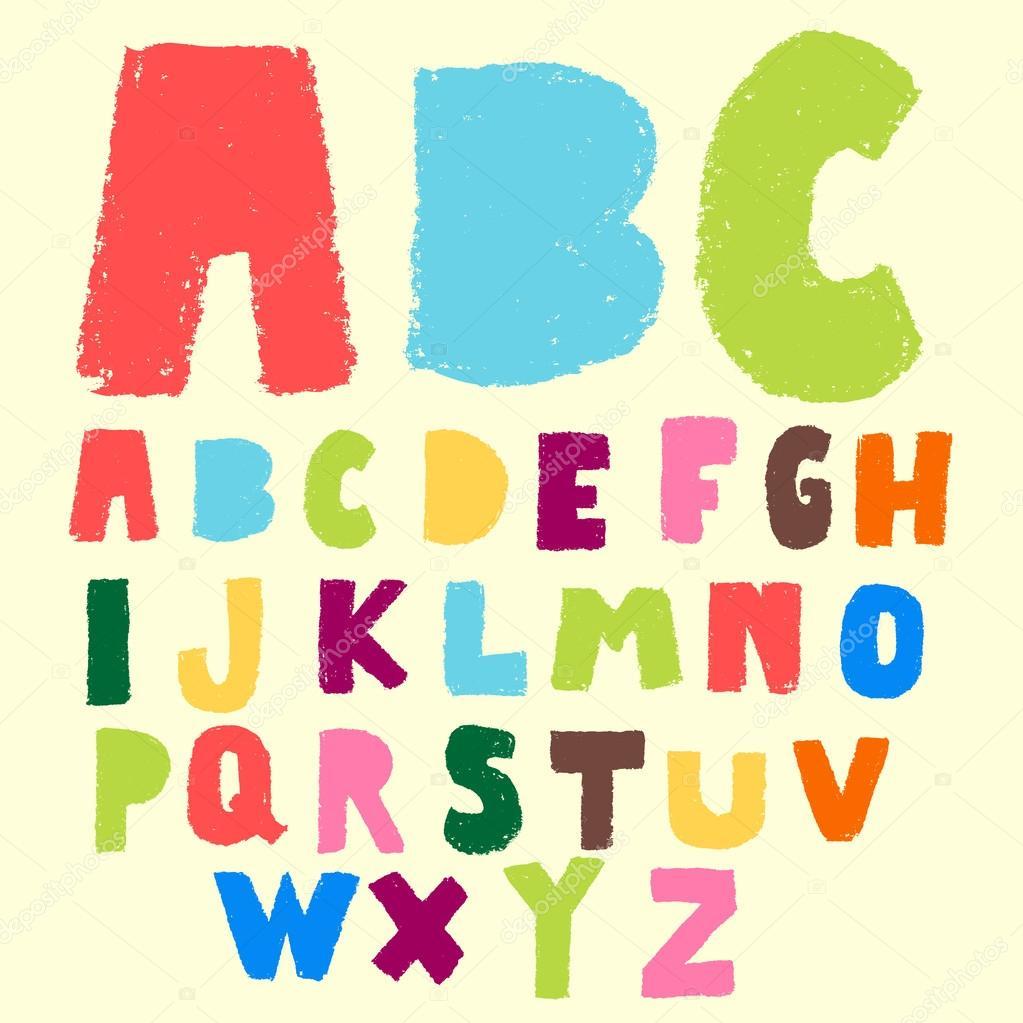 doodle pastel color alphabet set stock vector 45558259