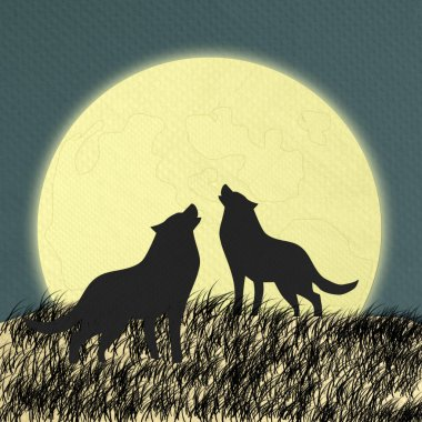 Wolf howling at the moon in the midnight made form tissue paper