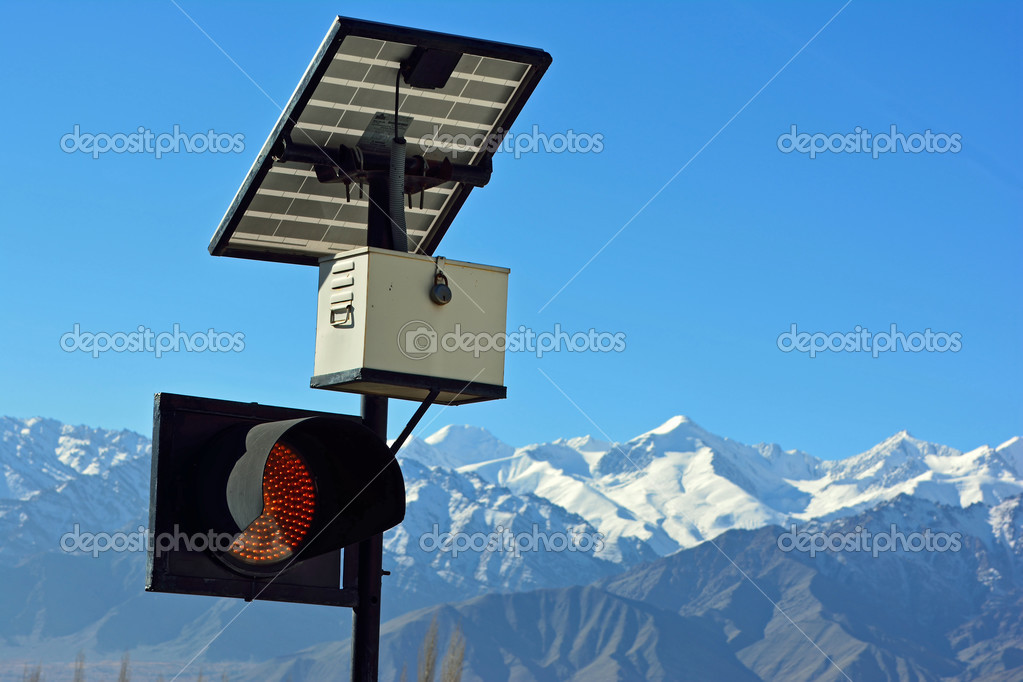 traffic light and solar cell panel in Leh, Ladakh, India.