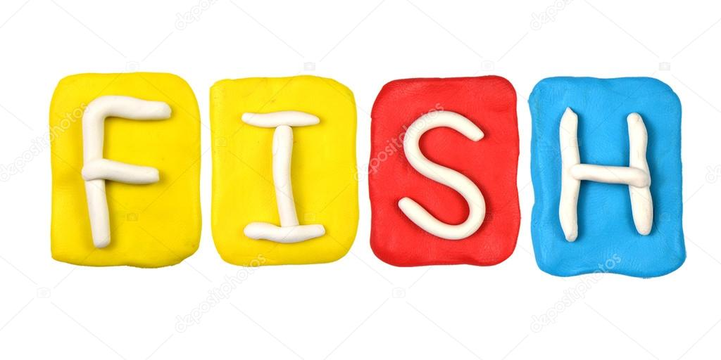Colorful plasticine alphabet form word fish stock photo for Is fishes a word