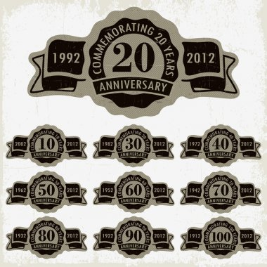 Anniversary signs and cards vector design
