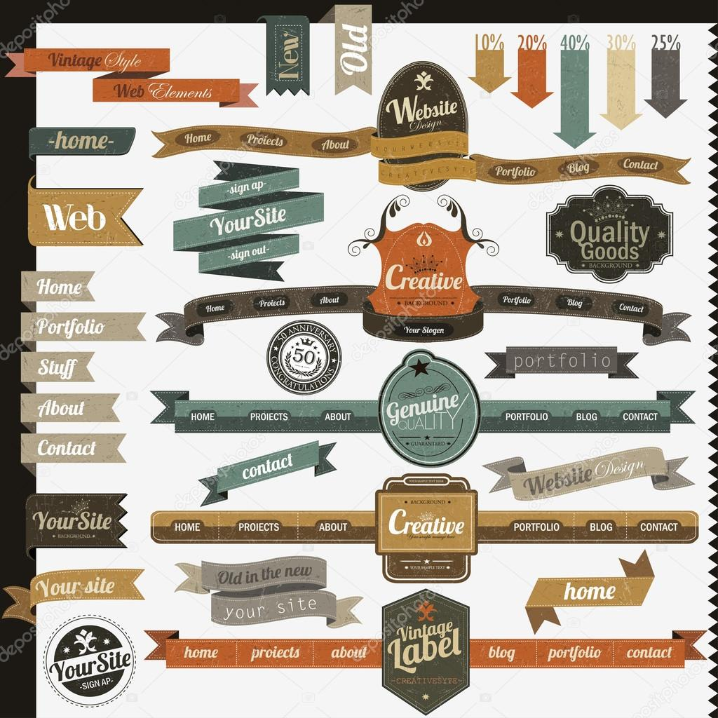 Retro vintage style website elements