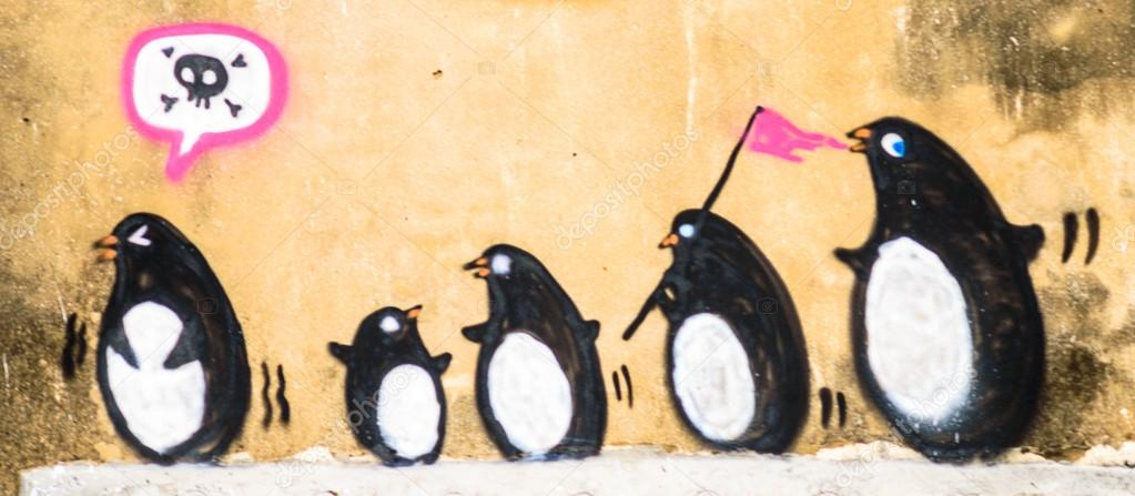 Street Art Graffiti - Penguin on the wall. — Stock Photo © tofudevil ...