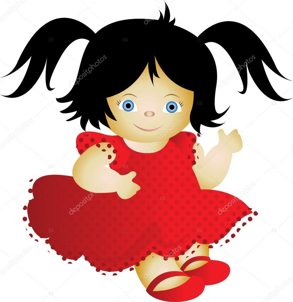 Кукла в красном платье — Векторное изображение ...