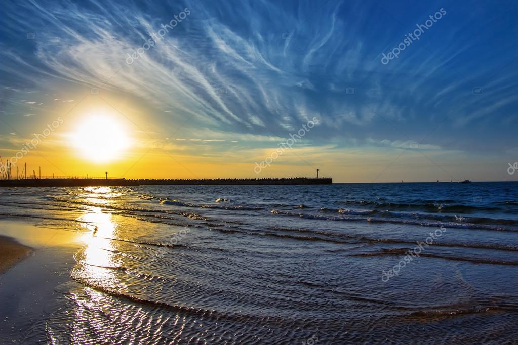 Seascape near the marina in Israel, Ashdod