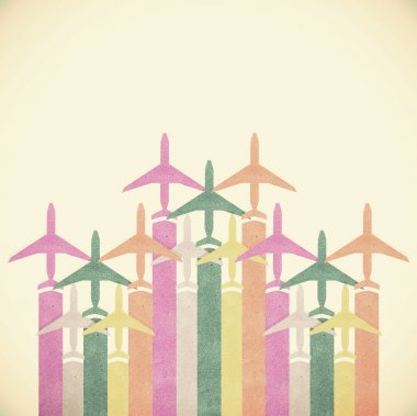 Colorful Airplanes on vintage tone background