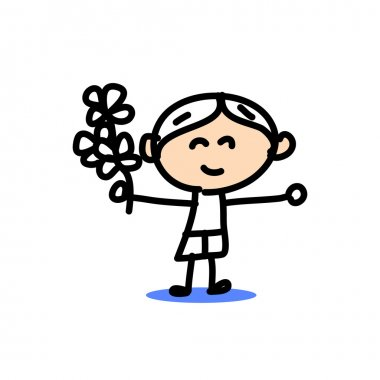 hand drawing cartoon emotion boys