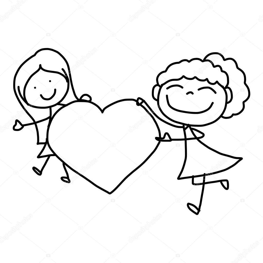 Dibujos Abrazados Niños Felices De Dibujos Animados De