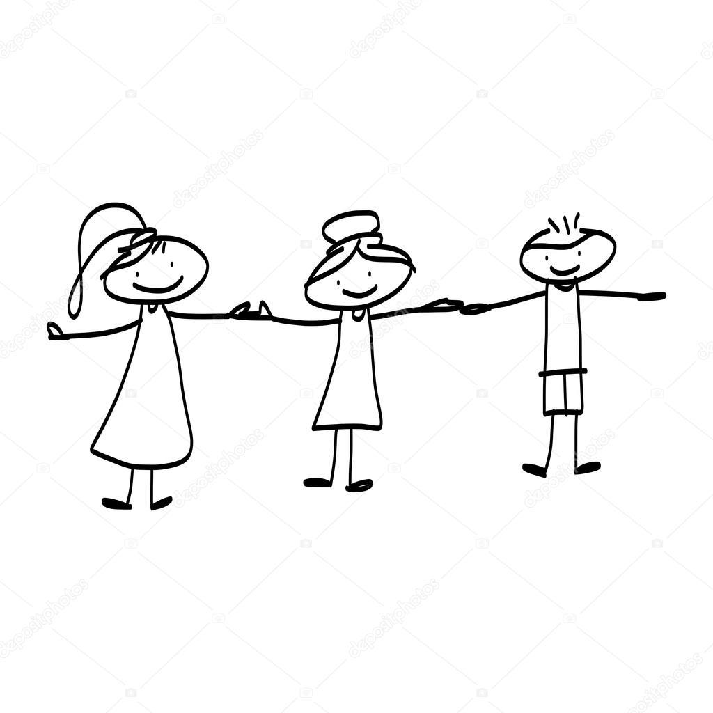 tecknade bilder på glada människor
