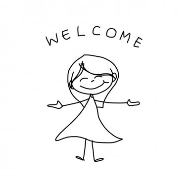 Hand drawing cartoon of happy girl in dress with welcome sign