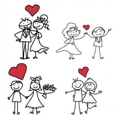 Hand drawing cartoon of happy wedding couple set