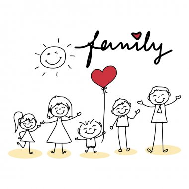 Hand drawing cartoon of  happy family with red heart