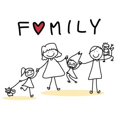 Hand drawing cartoon of  happy family