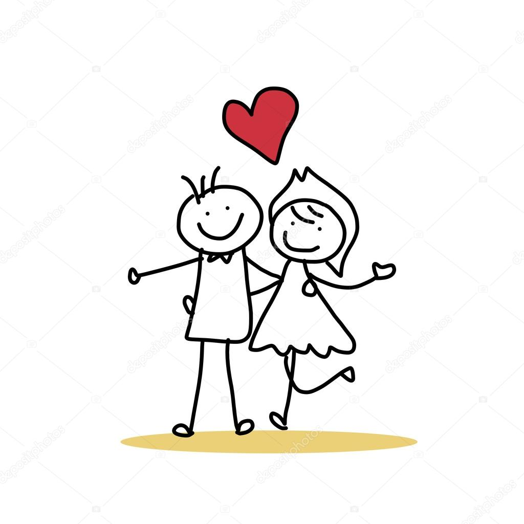 Hand Drawing Cartoon Of Happy Wedding Couple Stock Vector C Atthameeni 43028965