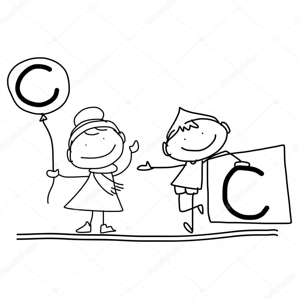 mão desenho desenho animado alfabeto c vetores de stock