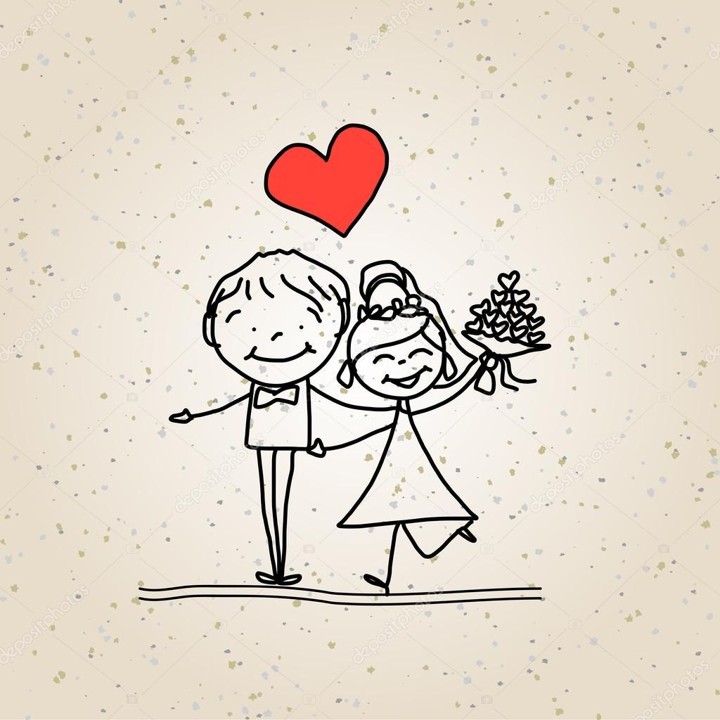 Matrimonio felice dei cartoni animati — vettoriali stock
