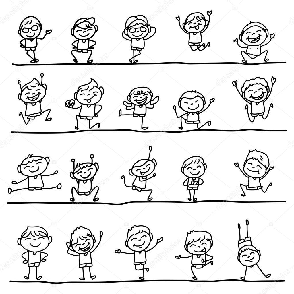 Mano Disegno Bambini Felici Di Personaggio Dei Cartoni Animati