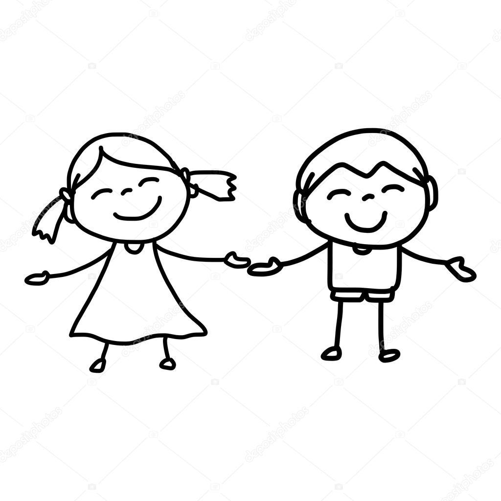 Черно белые картинки девочка и мальчик держатся за руки