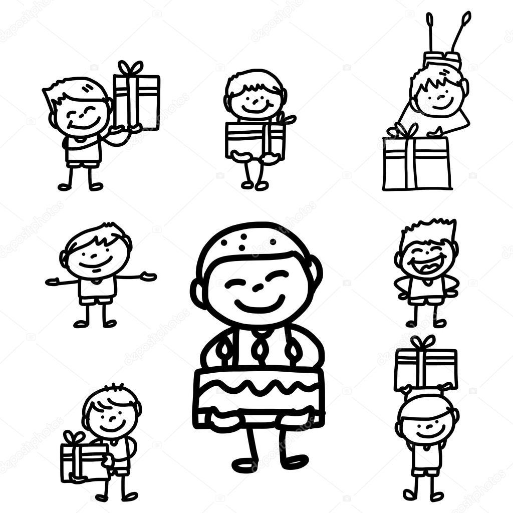 Hand Tekening Cartoon Verjaardag Stockvector C Atthameeni 49459997