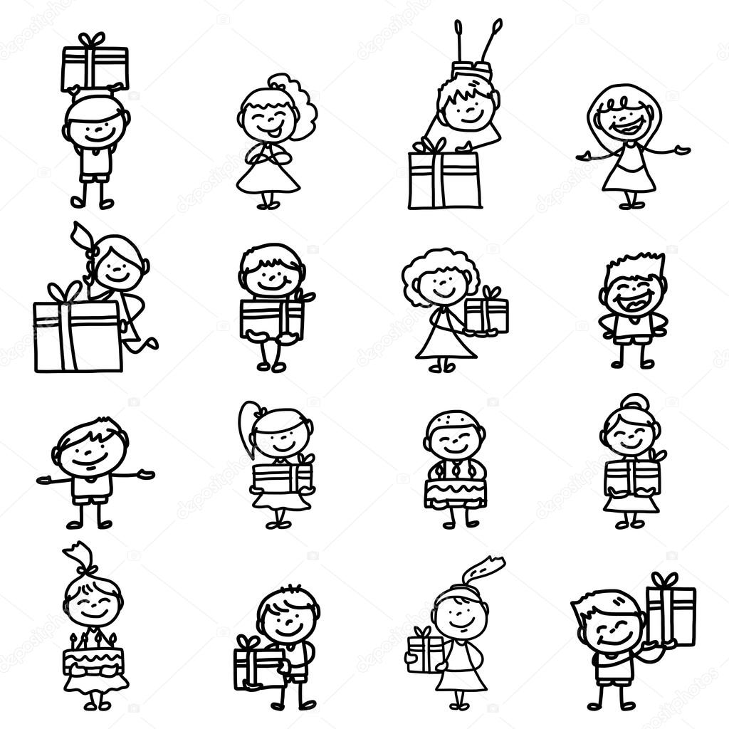 Hand Tekening Cartoon Verjaardag Stockvector C Atthameeni 49460033