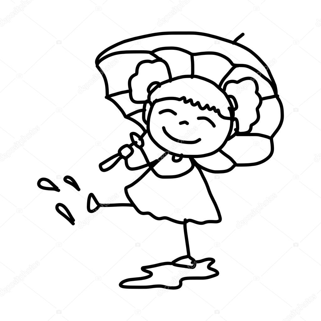 Easy To Draw Girl Cartoon Characters Cartoon Character Girl With Umbrella Stock Vector C Atthameeni 51525083