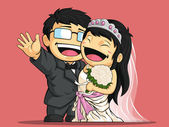 Fotografie Cartoon of Happy Wedding Bride  Groom