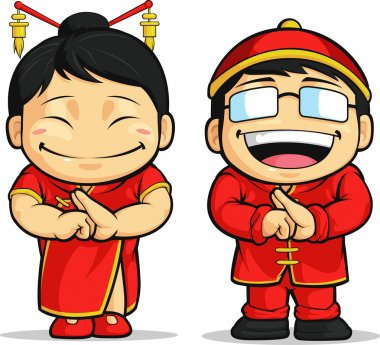Cartoon of Chinese Boy & Girl