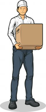 Delivery Man Bringing Carton Box Packet