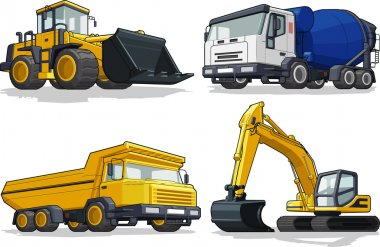 Construction Machine - Bulldozer, Cement Truck, Haul truck & Excavator