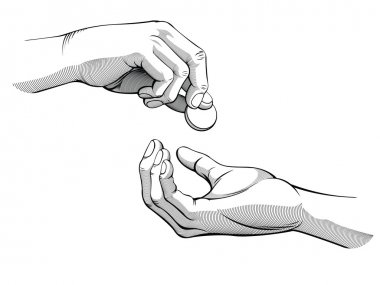 Hands Giving & Receiving Money (black & white version)