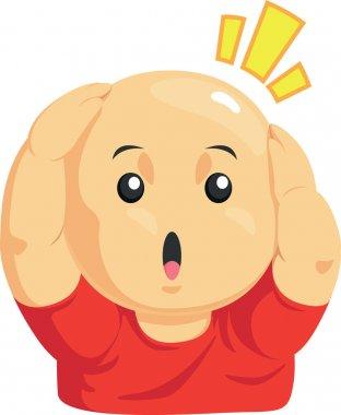 Cartoon of Funny Bald Kid