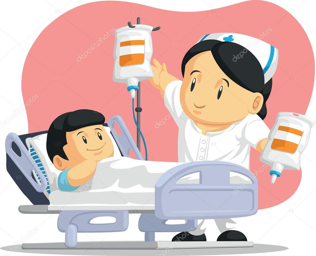 Cartone animato di infermiera aiutando il paziente