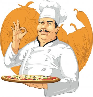 Pizzeria Chef Holding Pizza Pan