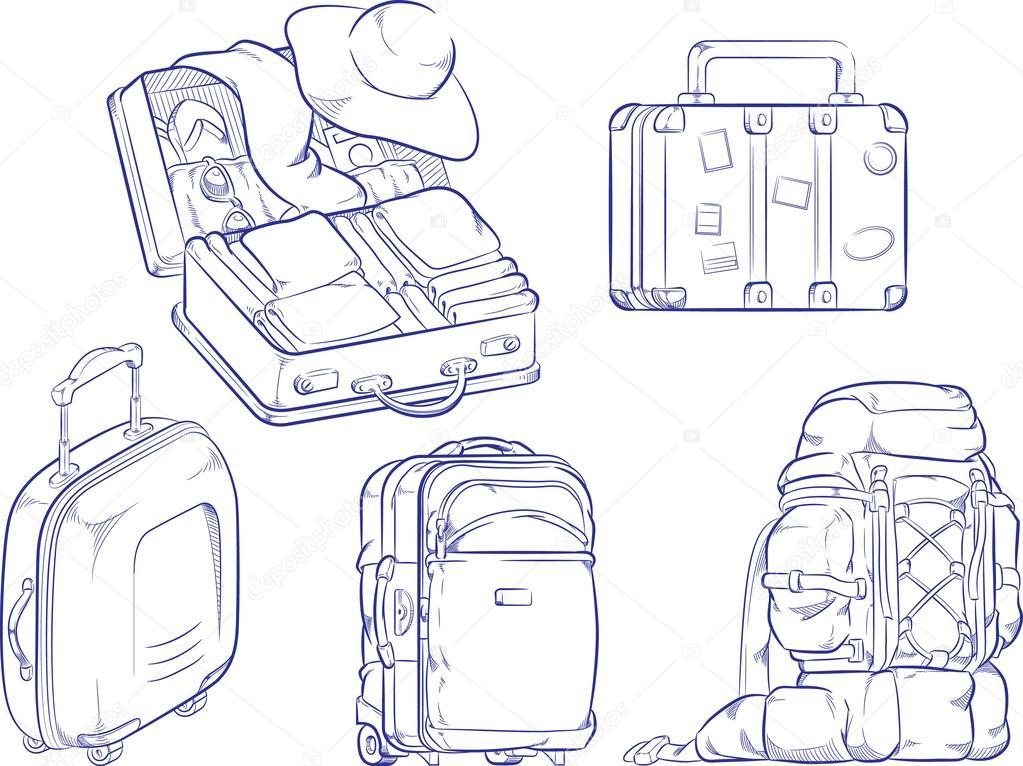 bosquejo de maleta de viaje y bolso — Vector de stock © BluezAce ...