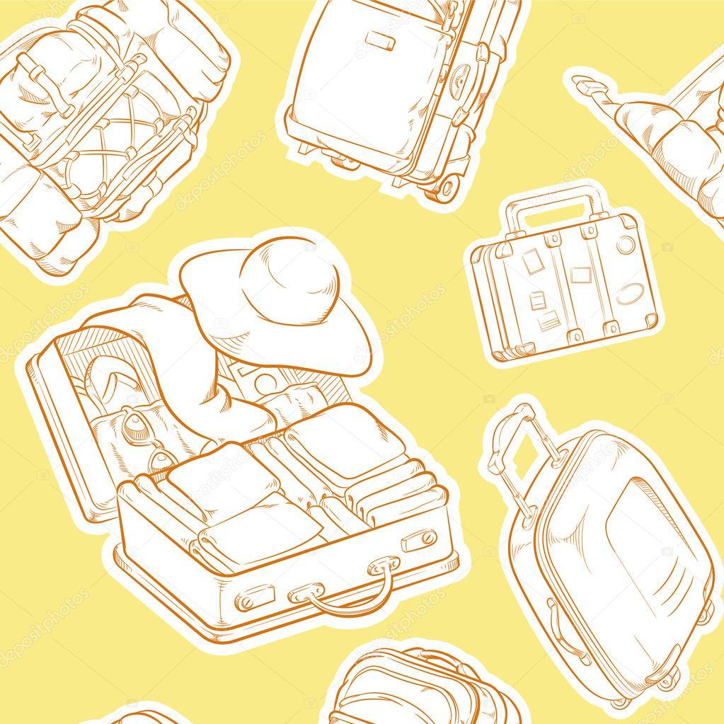 maleta de viaje & bolsa dibujo de patrones sin fisuras — Archivo ...