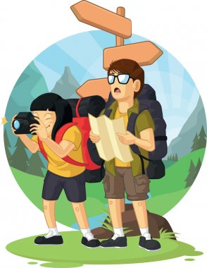 Cartoon of Backpacker Boy & Girl Enjoying Vacation