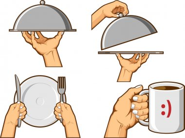 Food Hand Sign - Serving Tray and Holding Mug