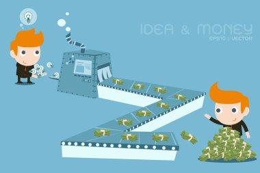Businessman earning Money from ideas
