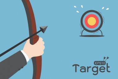 Printbusinessman aimming target