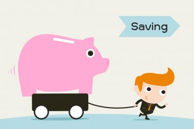 Saving , man pulling Piggy coin bank