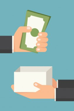 Hand giving money bill, vector stock vector