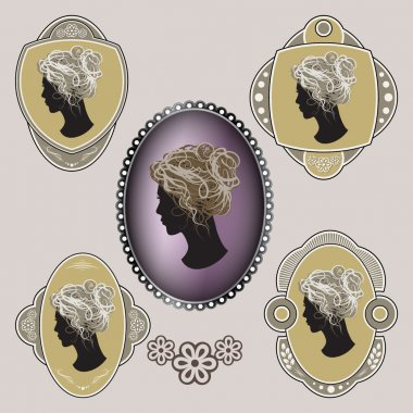 Cameo. Ornate labels with female profile.