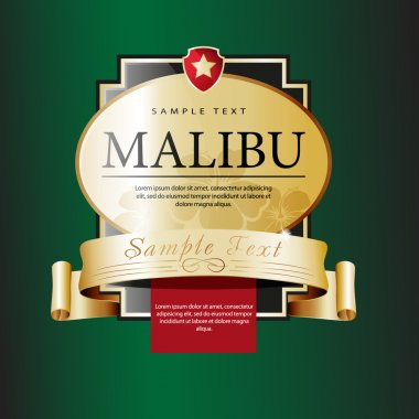 Ornate labels Malibu.