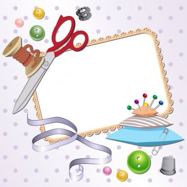 Frame with scissors, a pillow, a pin, buttons, threads.